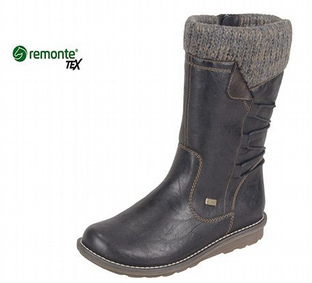 Remonte Womens R1094-02 Black Mid Calf Warm Lined Boots
